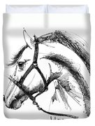 Horse Face Ink Sketch Drawing Duvet Cover