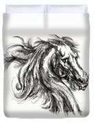 Horse Face Ink Sketch Drawing - Inventing A Horse Duvet Cover