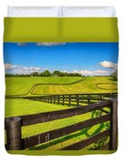Horse Farm Fences Duvet Cover