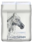 Horse Head Drawing Duvet Cover