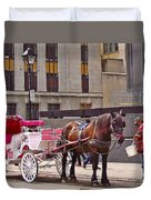 Horse Needs Water In Old Montreal-quebec-canada Duvet Cover