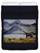 Horse Of The Mountains With Stained Glass Effect Duvet Cover