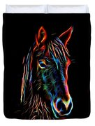 Horse On Black Duvet Cover