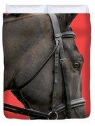 Horse On Red Duvet Cover