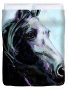 Horse Painted Black Duvet Cover