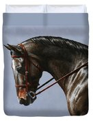 Horse Painting - Discipline Duvet Cover by Crista Forest