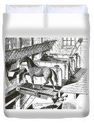 Horse Powered Stall Cleaner, 1880 Duvet Cover