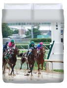 Horse Races At Churchill Downs Duvet Cover