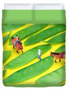 Horse Riding On Snow Peas Little People On Food Duvet Cover
