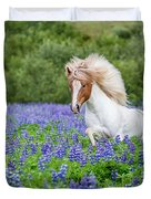 Horse Running By Lupines. Purebred Duvet Cover