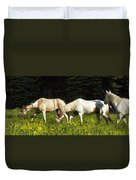 Horses Among Wildflowers Duvet Cover