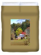 Horses And Barn In The Fall Duvet Cover