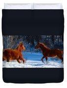 Horses At Play Duvet Cover