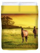 Horses At Sunset Duvet Cover