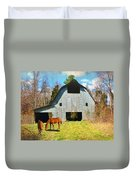 Horses Call This Old Barn Home Duvet Cover