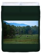 Horses Graze At Dawn Duvet Cover