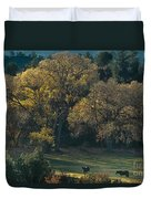 Horses In A Backlit Field With Fall Colored Trees Sedo Duvet Cover