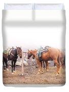 Horses In The Mist - Haleakala Duvet Cover