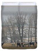 Horses In The Snow   #7940 Duvet Cover