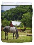 Horses On A Farm Duvet Cover