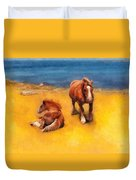 Horses On The Coast Of Brittany Duvet Cover