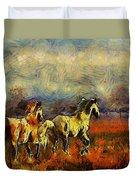 Horses On The Gogh Duvet Cover