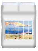 Horses On The Storm Large White Picture Window Frame View Duvet Cover