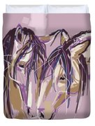 horses Purple pair Duvet Cover