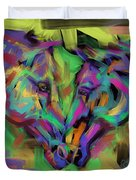 Horses Together In Colour Duvet Cover