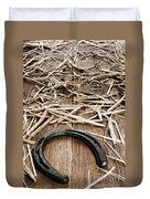 Horseshoe On Barn Floor Duvet Cover