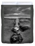 Horseshoes Beach  Black And White Duvet Cover