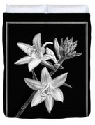 Hosta Flowers In Black And White Duvet Cover