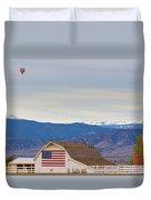 Hot Air Balloon Boulder Flag Barn And Eldora  Duvet Cover
