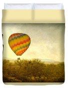Hot Air Balloon Flight Over The Southwest Desert Fine Art Print  Duvet Cover