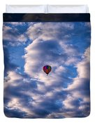 Hot Air Balloon In A Cloudy Sky Abstract Photograph Duvet Cover