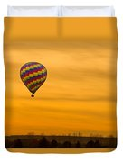 Hot Air Balloon In The Golden Sky Duvet Cover