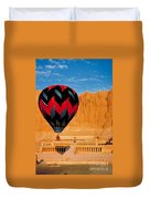 Hot Air Balloon Over Thebes Temple Duvet Cover