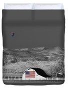 Hot Air Balloon With Usa Flag Barn God Bless The Usa Bwsc Duvet Cover