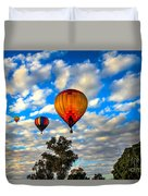 Hot Air Balloons Over Trees Duvet Cover
