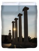 Hot Barcelona Afternoon - Magnificent Columns And Brilliant Sun Flares Duvet Cover