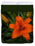 Hot Orange Lily  Duvet Cover