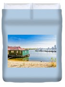 House And Boats On The River Duvet Cover