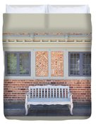 House Brick Exterior With Wood Bench Duvet Cover