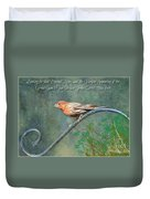 House Finch With Verse Duvet Cover