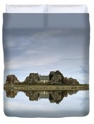 House In Between Rocks Reflected Duvet Cover
