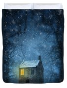 House In Woodland In Winter Duvet Cover