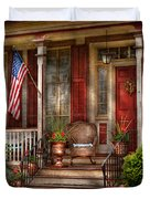 House - Porch - Belvidere Nj - A Classic American Home  Duvet Cover