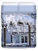 House Under Snow Duvet Cover by Elena Elisseeva
