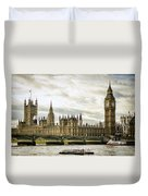 Houses Of Parliament On The Thames Duvet Cover