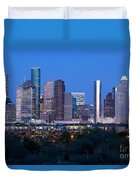 Houston Night Skyline Duvet Cover